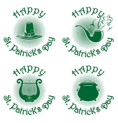 happy st patricks day green icons set vector image