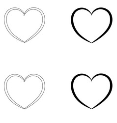 Heart the black and grey color set icon vector
