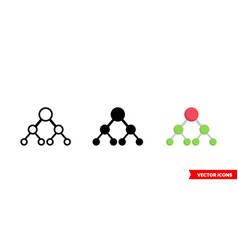 Hierarchical structure icon 3 types isolated vector