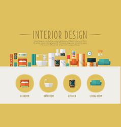 interior design web banner template bedroom vector image