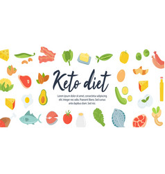 ketogenic diet food high healthy fats web banner vector image