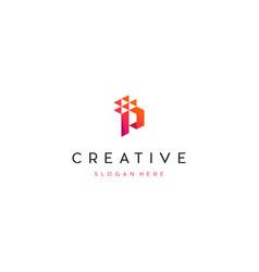 Letter p pixel media digital creative business log vector