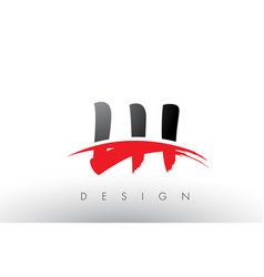 Lh l h brush logo letters with red and black vector