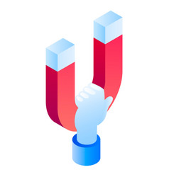 magnet in hand icon isometric style vector image