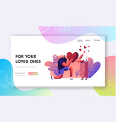 man making proposal to woman website landing page vector image
