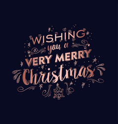 merry christmas copper text quote greeting card vector image