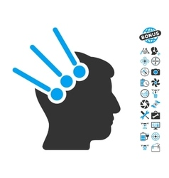 Neural Interface Connectors Icon With Copter Tools vector