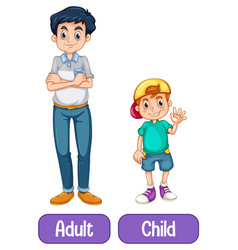 Opposite words with adult and child vector