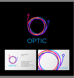 optic logo letter cable web computing digital vector image