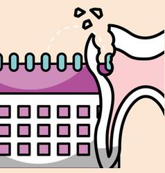 Oral hygiene broken tooth and calendar vector