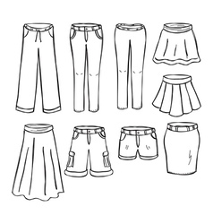 Pants and skirts vector