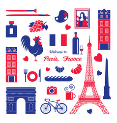 paris france landmarks and travel objects vector image
