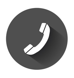 Phone icon in flat style with long shadow vector