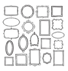 picture frame sketch set photograph album decor vector image