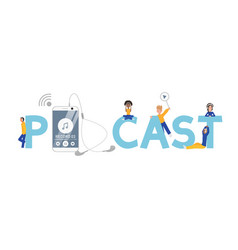 Podcast word concept banner vector