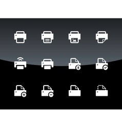 Printer icons on black background vector image