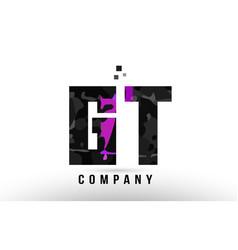 Purple black alphabet letter gt g t logo vector