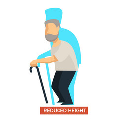 Reduced height aging symptom concept vector