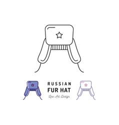 russian fur hat icon ushanka treval thin vector image