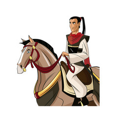 samurai warrior with sword riding horse designed vector image