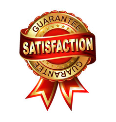 Satisfaction guarantee golden label with ribbon vector