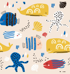 seamless childish pattern with fish octopust vector image
