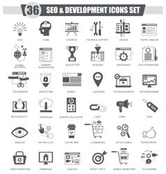 SEO and development black icon set Dark vector