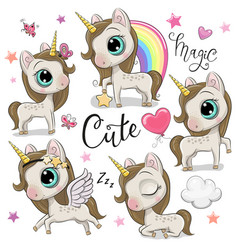 Set cute unicorns isolated on a white vector