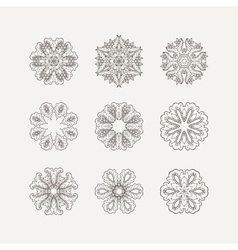 Set of ornate mandala symbols Mehndi lace tattoo vector image