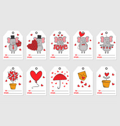 set of tags with elephant in love vector image