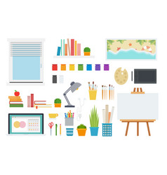 set workspace icons flat vector image