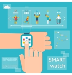 Smart watch fitness tracker vector image
