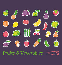 stickers with images of stylized fruit and vector image