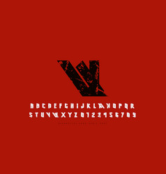 Stock narrow sans serif font vector