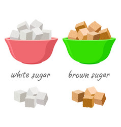 Sugar cubes in sugar bowls and in piles vector
