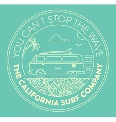 Surf logo with van and surf elements vector