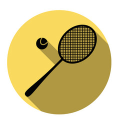 tennis racquet sign flat black icon with vector image