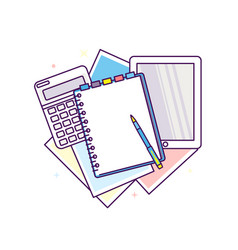 Top view of workplace with documents vector