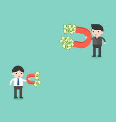 Two businessman using magnet finding money which vector