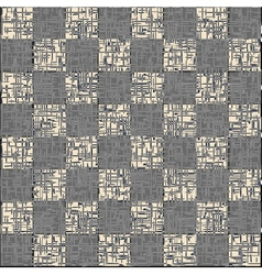 Vintage crack old scratched empty chess board vector