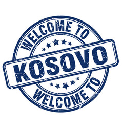 Welcome to kosovo blue round vintage stamp vector