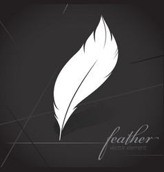white feather silhouette icon logo postcard dark vector image