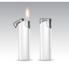 White Plastic Metal Lighters with Flame vector