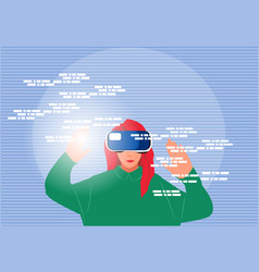 Woman in vr headset exploring cyberspace vector