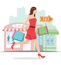 woman running with shopping bags vector image
