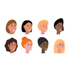 Women heads set vector