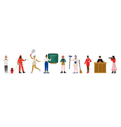 women various professions set confectioner vector image