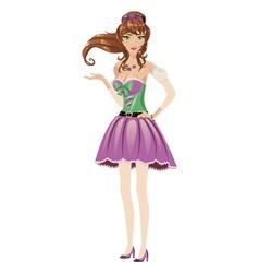 Brunette in purple dress vector image vector image