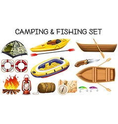 Camping and fishing equipments vector image