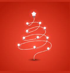 christmas tree with lighting garland christmas vector image vector image